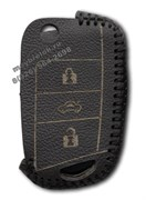 Чехол на выкидной ключ Шкода кожаный (рестайл 2013), черный