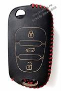 Чехол на выкидной ключ Хендэ elantra кожаный 3 кнопки, красный