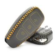 Чехол для смарт ключа Форд кожаный 3 кнопки, желтый