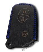 Чехол для смарт ключа Лексус кожаный 3 кнопки, IS серия, синий