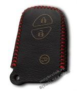 Чехол для смарт ключа Лексус кожаный 3 кнопки, IS серия, красный