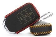 Чехол для смарт ключа Хонда кожаный 3 кнопки, красный