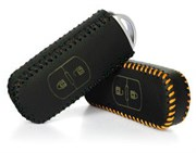 Чехол для смарт ключа Мазда кожаный 2 кнопки, черный