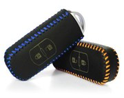 Чехол для смарт ключа Мазда кожаный 2 кнопки, синий