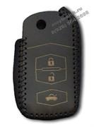 Чехол на выкидной ключ Мазда кожаный 3 кнопки, черный
