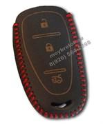 Чехол для смарт ключа Шевроле Cruze кожаный 3 кнопки, красный