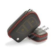 Чехол на выкидной ключ Тойота Rav4 кожаный 3 кнопки, красный
