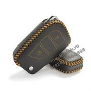 Чехол на выкидной ключ Тойота Rav4 кожаный 3 кнопки, желтый