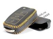 Чехол на выкидной ключ Фольксваген кожаный (дорестайл), желтый