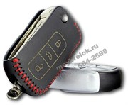 Чехол на выкидной ключ Фольксваген Phaeton кожаный 3 кнопки, красный