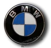 Наклейка БМВ сине-белая (78 мм) на капот / багажник