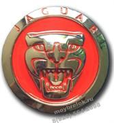 Эмблема Ягуар (70мм) решетки радиатора (3М скотч), (красн.)