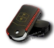Чехол на выкидной ключ Мазда кожаный 2 кнопки, черный