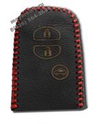 Чехол для смарт ключа Тойота Prado кожаный 3 кнопки, Прадо, красный