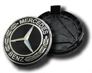Колпачки в диск Мерседес (75 мм) черные