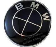 Наклейка БМВ черно-черная (78 мм) на капот / багажник