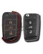 Чехол на выкидной ключ Фольксваген кожаный (рестайл 2013), красный
