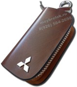 Ключница Митсубиси коричневая на молнии