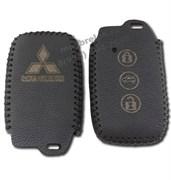 Чехол для смарт ключа Митсубиси кожаный 3 кнопки, черный