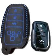 Чехол для смарт ключа Тойота Camry кожаный 4 кнопки, Камри, синий