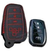 Чехол для смарт ключа Тойота кожаный 4 кнопки, Камри, красный