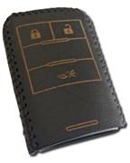 Чехол для смарт ключа Кадиллак кожаный 3 кнопки, черный