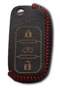Чехол на выкидной ключ Шкода кожаный (дорестайл), красный