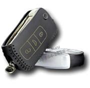 Чехол на выкидной ключ Фольксваген Phaeton кожаный 3 кнопки, черный