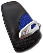 Кожаный выкидной чехол БМВ M performance кожа наппа, синий