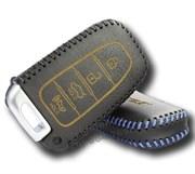 Чехол для смарт ключа Киа кожаный 4 кнопки, черный
