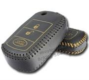Чехол на выкидной ключ Лэнд Ровер кожаный 3 кнопки, черный