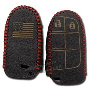 Чехол для смарт ключа Джип кожаный 2 кнопки, красный