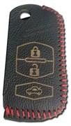 Чехол на выкидной ключ Мазда кожаный 3 кнопки, красный