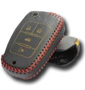 Чехол на выкидной ключ Шевроле кожаный 4 кнопки, красный