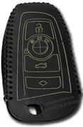 Чехол для смарт ключа БМВ кожаный рестайл (1 ушко), черный