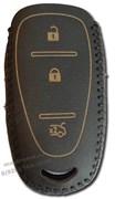 Чехол для смарт ключа Шевроле Cruze кожаный 3 кнопки, черный