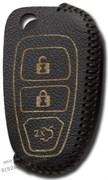 Чехол на выкидной ключ Форд Куга, кожаный 3 кнопки, черный