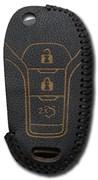 Чехол на выкидной ключ Форд Мондео, кожаный 3 кнопки, черный