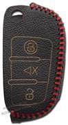 Чехол на выкидной ключ Шевроле кожаный 3 кнопки, красный