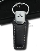 Брелок Митсубиси для ключей кожаный (q-type), выпуклая эмблема