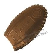 Чехол для смарт ключа Ниссан (4 кноп) мягкая натуральная кожа, коричневый