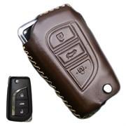 Чехол на выкидной ключ Тойота мягкая натуральная кожа, черный