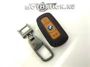Чехол для смарт ключа БМВ нат. кожа дорестайл (2 ушка)