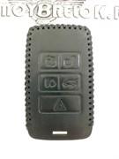 Чехол для смарт ключа Лэнд Ровер Ягуар, кожаный 5 кнопок, черный