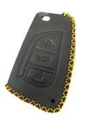 Чехол для смарт ключа Тойота  кожаный 3 кнопки, черный